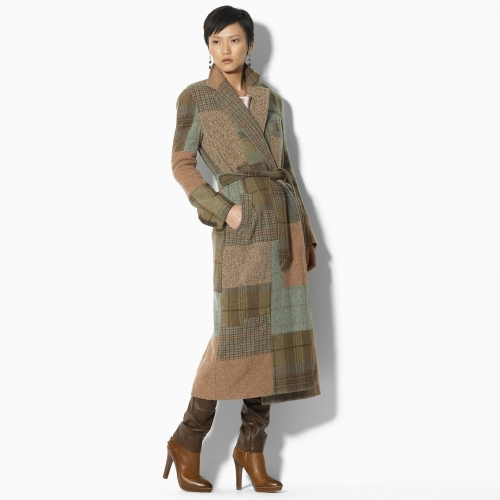 Ralph Lauren Blue Label Simon Wool Patchwork Wrap Coat