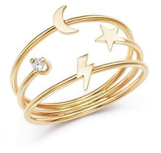Lightning Bolt Zoë Chicco 14K Yellow Gold Itty Bitty Lightning Bolt, Moon & Star Diamond Three-Band Ring