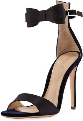 Gianvito Rossi Two-Tone Bow-Tie d'Orsay Sandal, Blue/Black