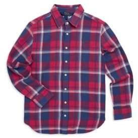 Ralph Lauren Girl's Button-Down Plaid Shirt