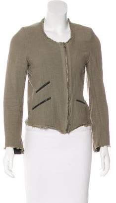 IRO Leather-Trimmed Woven Jacket