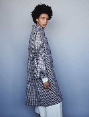 Maje Long wool houndstooth coat