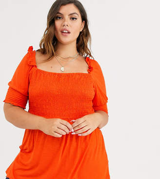 Simply Be square neck shirred top in orange