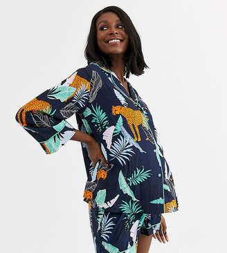 Asos Design DESIGN Maternity botanical tiger shirt & short 100% modal pyjama