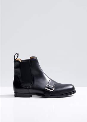 Jil Sander Navy Chelsea Ankle Boots with Buckle