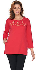 Nobrand NO BRAND Quacker Factory Anchor Grommet EmbroideredTunic w/Pockets