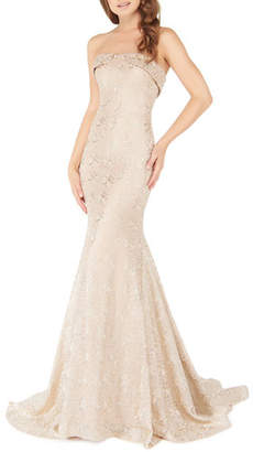 Mac Duggal Strapless Metallic Lace Trumpet Gown with Train