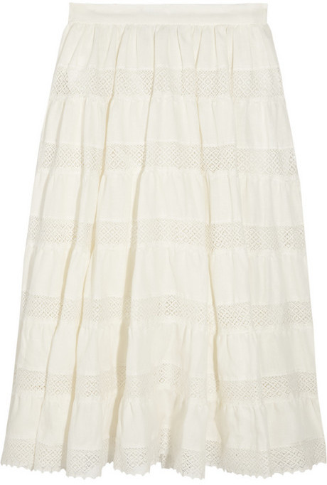 Luisa Beccaria Embroidered linen skirt