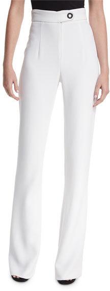 Cushnie Et OchsCushnie et Ochs High-Waist Snap-Detail Wide-Leg Pants, White