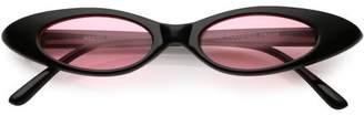 Sunglass.La Ultra Thin Extreme Oval Sunglasses Color Tinted Lens 47mm (Black / Smoke)