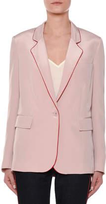 Stella McCartney One-Button Silk Blazer w\/ Contrast Piping