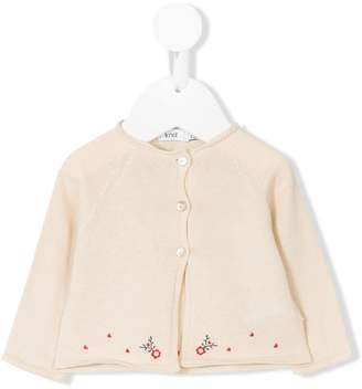 Knot floral embroidered cardigan