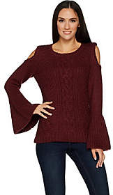 G.I.L.I. got it love it G.I.L.I. Cold Shoulder Cable Knit Sweater