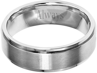 Steel By Design Stainless Steel 7mm Ridged Edge Brushed & Polished Ring