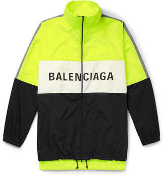 Balenciaga Oversized Logo-Print Shell and Ripstop Jacket - Bright yellow