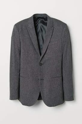H&M Slim Fit Melange Blazer - Black