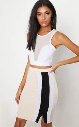 PrettyLittleThing Peach Side Stripe Split Hem Detail Midi Skirt