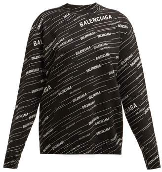 Balenciaga Logo Intarsia Crew Neck Sweater - Womens - Black White