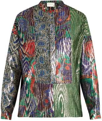 Maison Rabih Kayrouz Multi-jacquard silk-blend lamé shirt