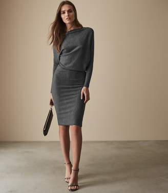Reiss DELANEY DRAPE DETAIL DRESS Grey Marl