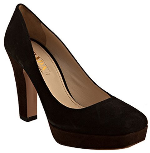 Prada black and ebony suede platform pumps