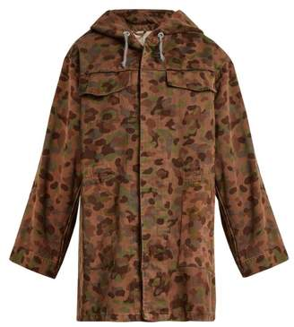 Myar - Oversized Camouflage Print Cotton Hooded Jacket - Womens - Khaki Multi