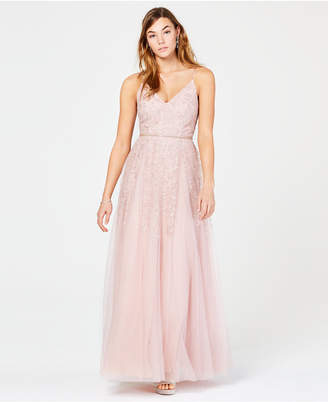 Teeze Me Juniors' Glitter Mesh Gown