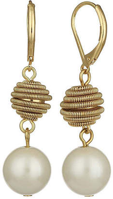 MONET JEWELRY Monet Simulated Pearl Gold-Tone Double Drop Earrings