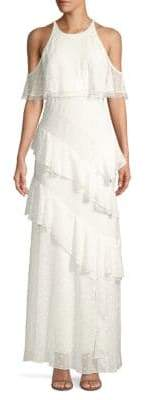BCBGMAXAZRIA Cold-Shoulder Ruffle Chiffon Halter Gown