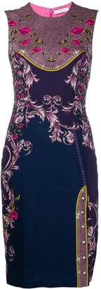 Versace floral print fitted dress