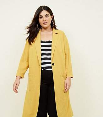 New Look Curves Mustard Cross Hatch Duster Jacket