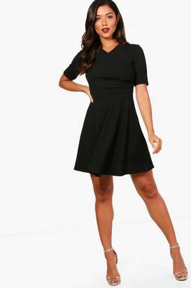 boohoo Short Sleeve Wrap Skater Dress