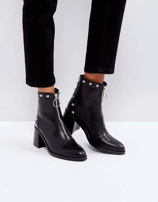 DEPP Depp Soft Leather Studded High Heel Boot