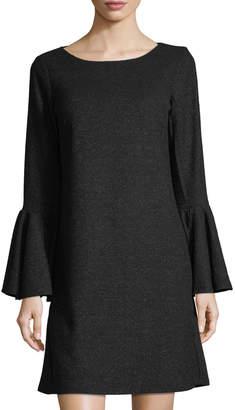 Tahari ASL Sweater-Knit Bell-Sleeve Dress