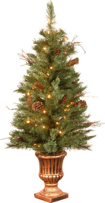clear National Tree 4Ft Glistening Pine Entrance Tree W/ Cones, Berries, & Twigs In Gold Urn W/ 50 Lights