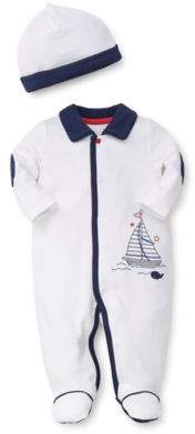 2-Piece Quilted Boat Footie and Hat Set in White