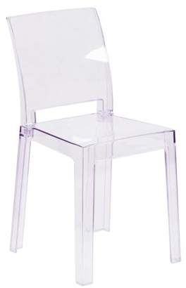 Flash Furniture Ghost Chair in Transparent Crystal with Square Back