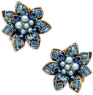Heidi Daus Bold Floral Goldtone & Crystal Flower Earrings