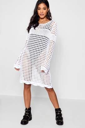 boohoo Alice Crochet Bell Sleeve Dress