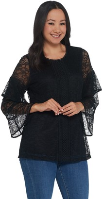 Isaac Mizrahi Live! Stretch Lace Ruffled Sleeve Swing Top