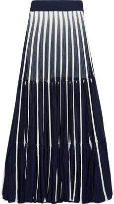Chloé - Pleated Stretch-knit Maxi Skirt - Navy