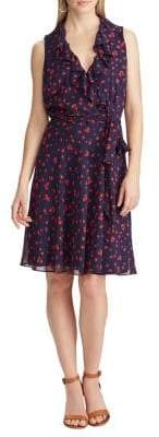Chaps Ruffled Floral Fit--Flare Dress