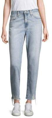 AG Jeans Phoebe Cropped Distressed Straight-Leg Jeans
