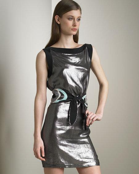 Cynthia Rowley Belted Metallic Dress