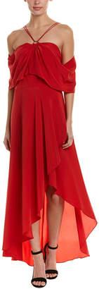 Yigal Azrouel Cold-Shoulder Silk Maxi Dress