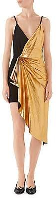 Gucci Women's Metallic Leather & Suede Ruched V-Neck Mini Dress