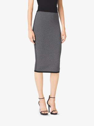 Michael Kors Diamond Jacquard Cotton and Wool Pencil Skirt