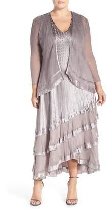 38c13438b9137 Komarov Charmeuse Tiered Hem Dress with Chiffon Jacket