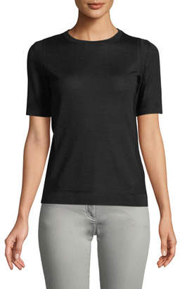Escada Crewneck Short-Sleeve Pullover Pointelle Top