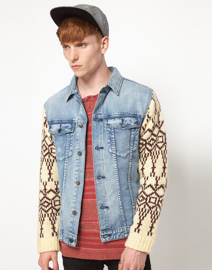 Insight Denim Jacket With Knitted Sleeves